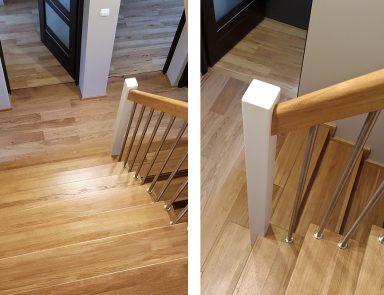 Holztreppe mit Metallgeländer